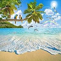 カスタム壁壁画壁紙地中海風景画オウムイルカビーチ青空リビングルームの装飾-130x60cm