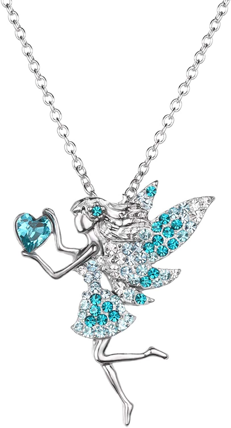 Fairy Necklace for Teen Girls ,Birthstone Pendant Gift for Girls White Gold Plated Austrian Crystal Jewelry Gift