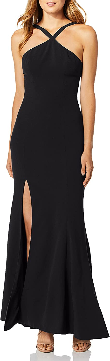 Dress the Population Women's Brianna Halter Mermaid Fitted Long Gown Maxi Dress, Black, XX-Large