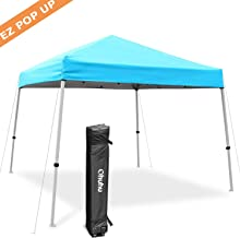 Ohuhu EZ Pop-Up Slant Leg Canopy Tent, 10 X 10 FT Instant Shelter with 3 Adjustable Heights, Easy-Carrying Lightweight & Durable Instant Shelter with Wheeled Carry Bag, Blue