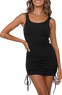 Womens Ruched Bodycon Dress Sleeveless Drawstring Club...