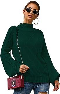 Yizenge Women's Turtleneck Knit Oversized Sweaters Lantern Sleeve Pullover Sweater Tops