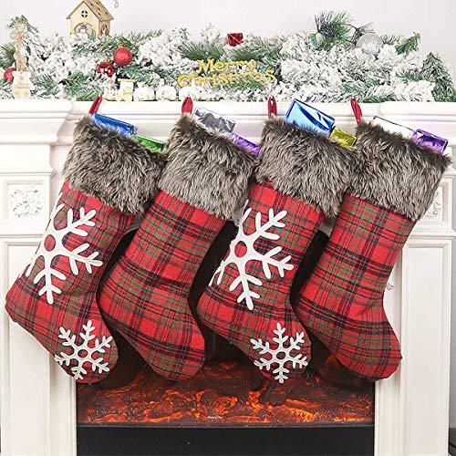 Weihnachtsstrumpf Weihnachtsdeko Weihnachten Geschenktasche Weihnachsstrumpf Hängende Strümpfe für Weihnachtsdeko Geschenk Christmas Stockings Hängende Strümpfe (Weihnachtsstrümpfe Rot Plaid, 46cm)