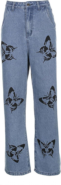 fannyouth Baggy Jeans for Women Y2k Fashion High Waist Pocket Solid Casual Loose Wide Leg Pants Jeans Vintage Streetwear