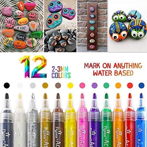 Premium Steine Bemalen Stifte, 12 Farbe Wasserfest Acrylstifte Marker Stiftes für Steine Bemalen, Acrylfarben Stifte für Kinder DIY Keramik Glas Porzellan Metall Kunststoff Holz Leinwand(2-3mm Tip)