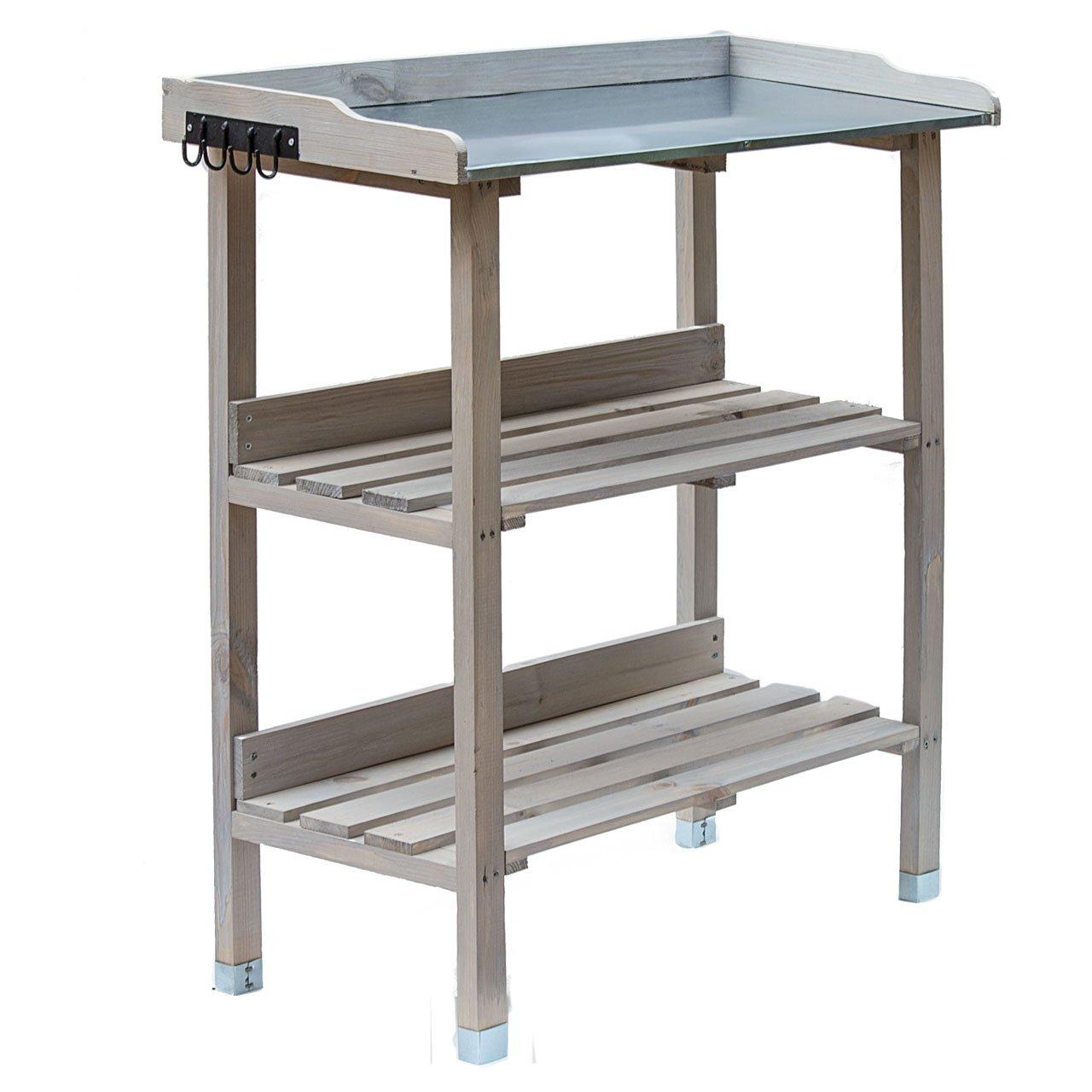 Mesa de plantación de madera, mesa de jardín con placa de zinc y 2 estantes, resistente