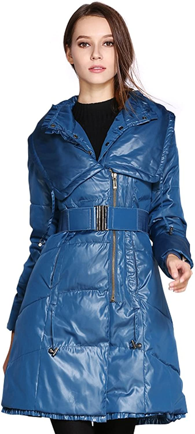 COUTUDI Winter Women's Big Turnover Collar Cotton Coat Outwear with Belt