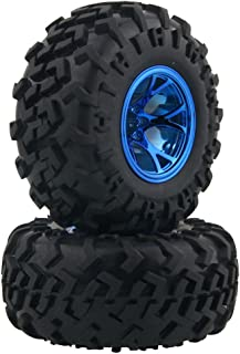 LAFEINA 4PCS 1/10 RC Monster Truck Wheel and Tire Set, Rubber Tyres and Plastic Wheels for Traxxas HIMOTO HSP HPI Tamiya Kyosho Monster Bigfoot Truck