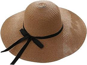 Gespout Cappello di Paglia Elegante Signora Spiaggia Cappello Estivo Allaperto Strisce Bianche e Nere Grande Cappello da Sole Tesa Cappello da Sole Crema Solare