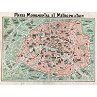 Robelin Paris Monument Map French Large Wall Art Poster Print Thick Paper 18X24 Inch パリ記念碑地図フランス語壁ポスター印刷