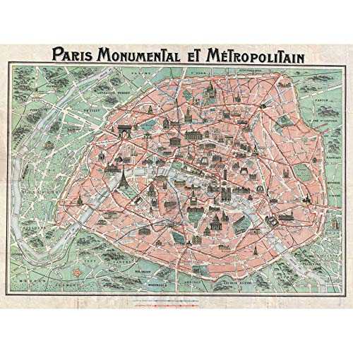 Wee Blue Coo Robelin Paris Monument Map French Large Wall Art Poster Print Thick Paper 18X24 Inch París Monumento Mapa francés Pared Impresión del Cartel
