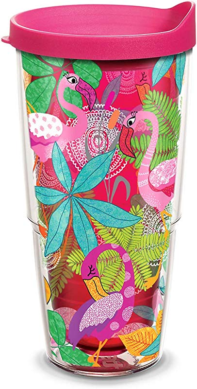 Tervis 1308327 Flamingo Fun Insulated Tumbler With Wrap And Fuschia Lid 24oz Ruby