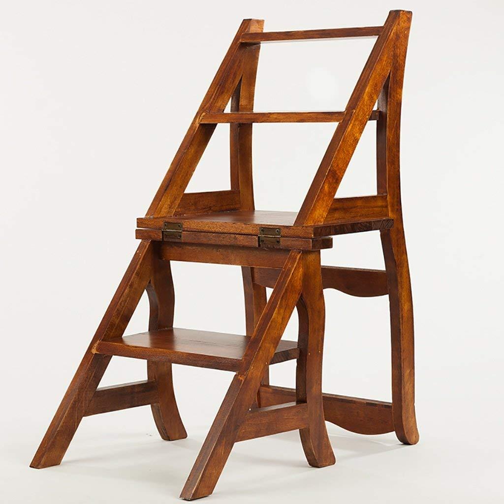 GZ Muebles para el hogar Escaleras multifuncionales Sillas de Madera Maciza Plegable de Doble Uso Sala de Estar Escalera de la Silla: Amazon.es: Deportes y aire libre