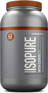 Isopure Zero Carb 100% Whey Protein Isolate Powder with 25gm Protein per serve - 3 lbs, 1.36 kg Colombian Coffee