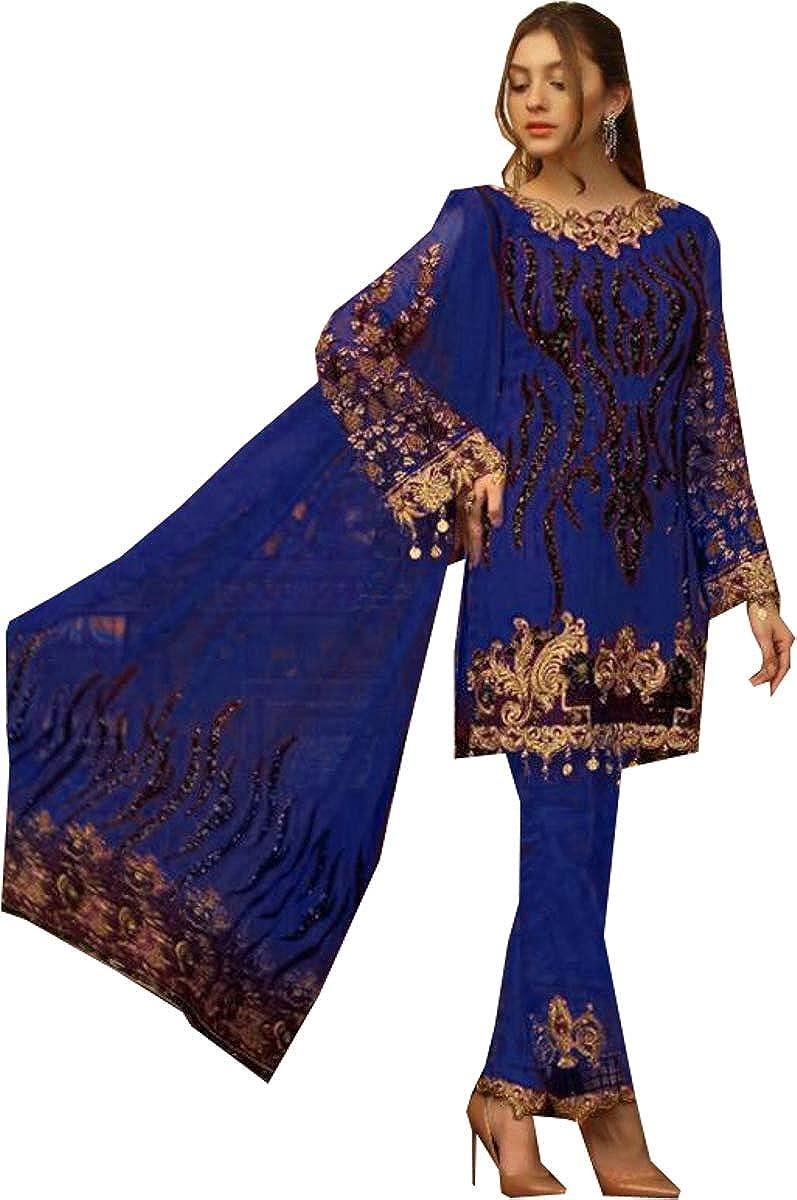 REKHA Latest Indian Pakistani Party Wear Wedding Wear Anarkali Gown Suit for Woman Embroidery Work Un Stitch Salwar Kameez Suit 510 Blue