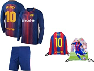 Lionel Messi Barcelona #10 Youth Soccer Jersey Home Long/Short Sleeve Kit Shorts Kids Gift Set