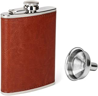 Aulpon 8 oz Flask and Funnel,flasks for liquor for men for Storing Whiskey Liquor, Brown,Brown leather Flask Funnel Set