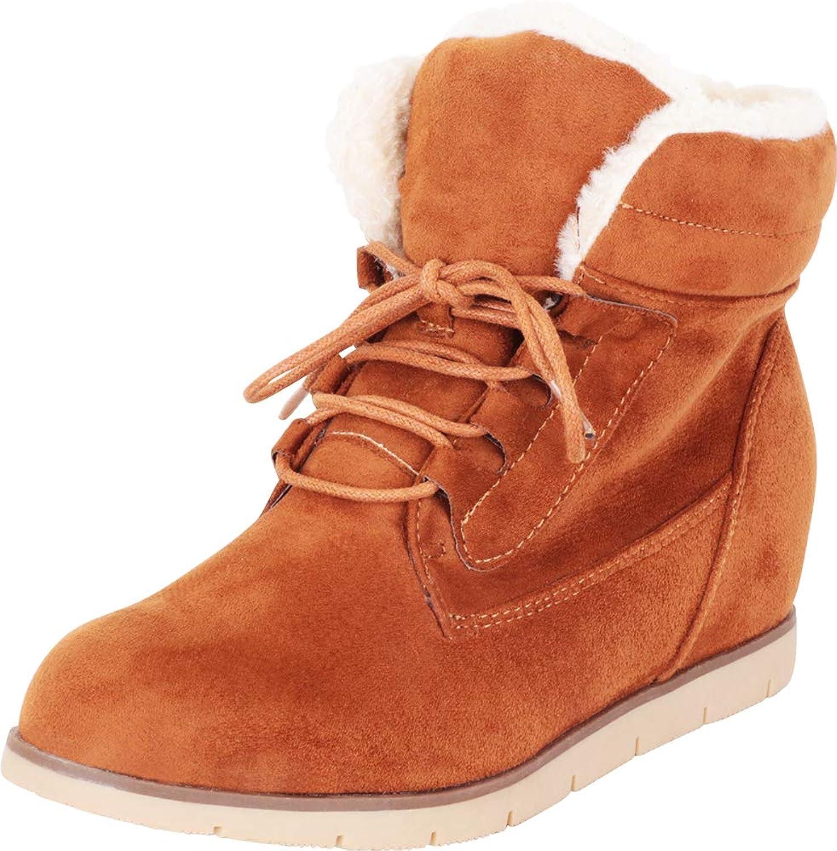 Cambridge Select Woherrar Faux Fur Fur Fur Lace -Up Dold Wedge Ankle Booslips  köpa rabatter