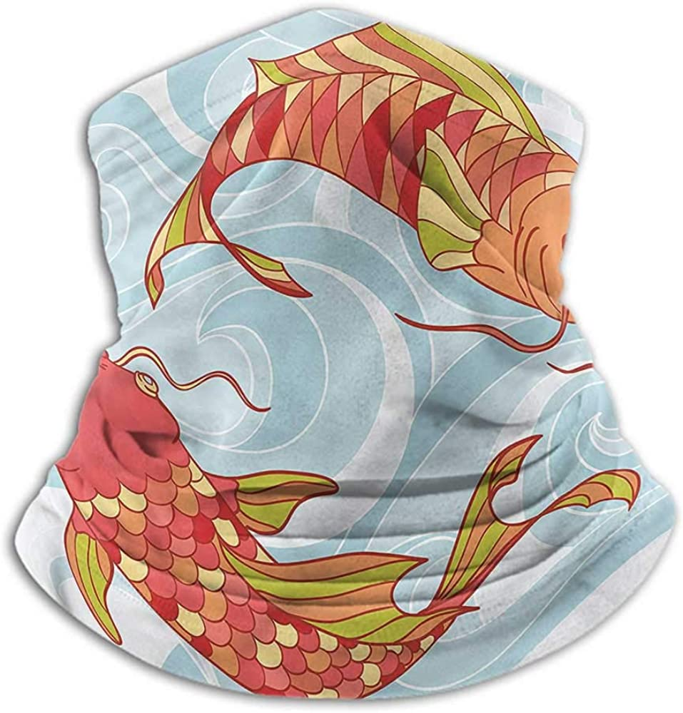 Face Scarf Koi Fish Fishing Neck Gaiter Sun Protection Colorful Koi Swirl Waves 10 x 12 Inch