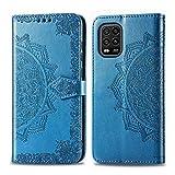Bear Village Hülle für Xiaomi MI 10 Lite 5G, PU Lederhülle Handyhülle für Xiaomi MI 10 Lite 5G, Brieftasche Kratzfestes Magnet Handytasche mit Kartenfach, Blau