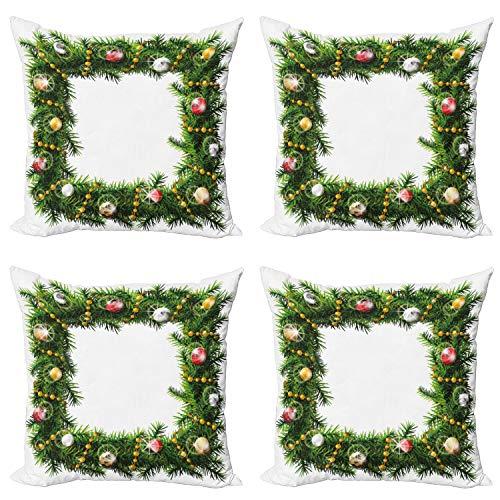 ABAKUHAUS Navidad Set de 4 Fundas para Cojín, Invierno Plaza de la Guirnalda, Estampado Digital en Ambos Lados y Cremallera, 40 cm x 40 cm, Multicolor
