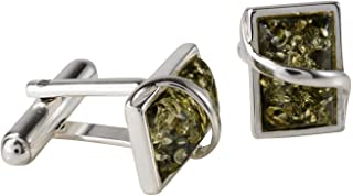 Sterling Silver and Baltic Green Amber Cufflinks