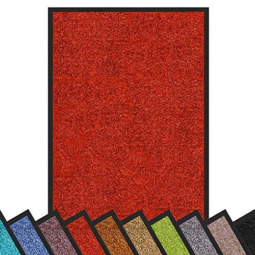 Schmutzfangmatte Rhine | schadstoffgeprüft | waschbare & extra leistungsstarke Fußmatte | Sauberlaufmatte mit Rutschfester Rückseite | Türmatte in vielen Größen & Farben (60x90 cm, Rot)