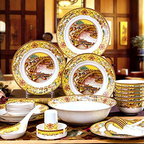 Tanamy 28 Pieces Bone China Dinnerware Set, Porcelain Round Microwave, Oven And Dishwasher Safe Chip-Resistant Plates Bowls Dish Sevice for 6
