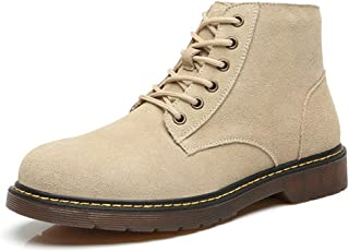 SHENTIANWEI Ankle Boots for Men High Top Work Shoes Lace up Motorcycle Retro Leisure Suede Upper Round Toe Anti-Slip Flat Rubber Sole (Color : Sand, Size : 5.5 UK)