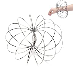Velioy Flow Ring Kinetic 3D Spring Toywith Multi-Sensory, Interactive, 3D-Shaped For Kids Boys And Girl, Rave Accessories, Festival Accessories (Silver)