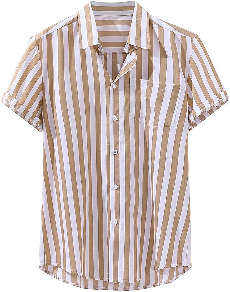 Men's Shirt Short Sleeve Button Down Stripe Regular-Fit Casual ...
