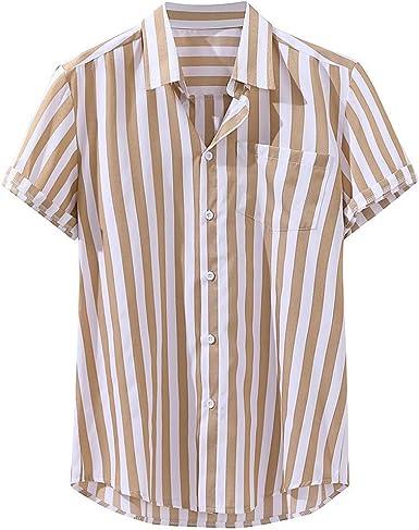 routinfly Camisetas Casual para Hombre, Camisa a Rayas de ...