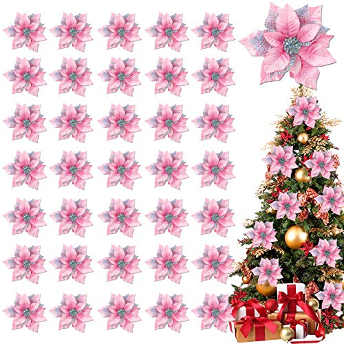 TURNMEON 36 Pack Glitter Poinsettia Christmas Flowers Decorations Christmas Tree Ornaments, Glitter Gold 4' Artificial Silk Flowers Picks Decor Wreath Garland Holiday (Pink)