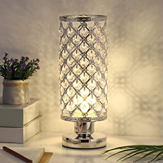 Crystal Table Lamp Decorative Desk Lamp with Hollowed Out Metal Lampshade and Crystal Beads for Bedroom Living Room Dressers Girls Room Coffee Table Dining Table