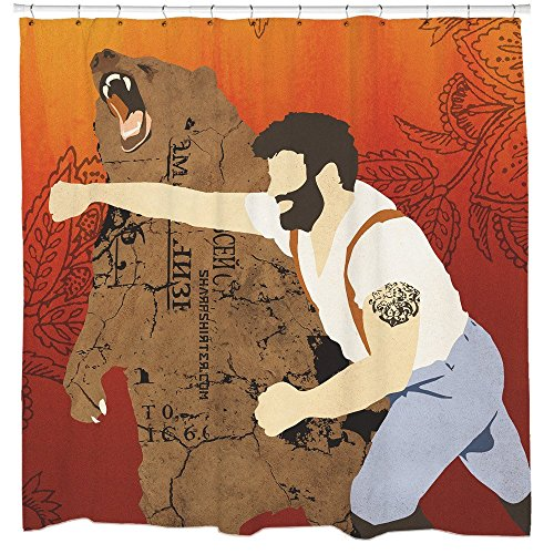 Sharp Shirter Funny Shower Curtain Set Cool Bathroom Decor Man Punching Bear Red Polyester Fabric 71x74 Hooks Included