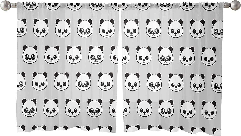 Max 68% OFF Sheer Curtains 45 Inches Length Semi Panels Panda 1 year warranty Cute 2
