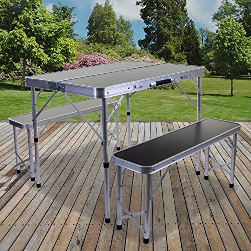 Marko Outdoor Portable Folding Camping Table & Bench Set Outdoor Picnic Trestle Aluminium Seat