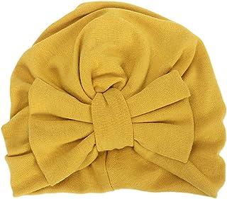 Senoow - Cappello a turbante invernale per bambine, con grande fiocco, in cotone, tinta unita