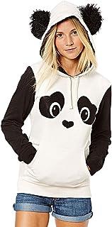 WLLW Women's Long Sleeve Hooded Panda Hoodie Sweatshirt Tops Blouse Outerwear
