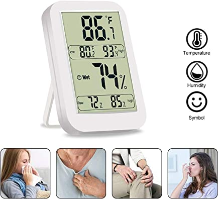 ORPIO (LABEL) Indoor Digital Hygrometer Outdoor Digital Electronic Thermometer Humidity Meter Temperature Humidity Gauge with Big Digital LCD Screen (White)