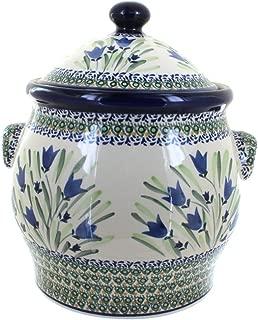 Polish Pottery Blue Tulip Cookie Jar