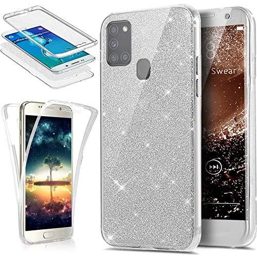 Glitzer Hülle Kompatibel mit Samsung Galaxy A21S Hülle,360 Grad Full Body Glänzend Glitzer Bling Durchsichtige TPU Silikon Hülle Handyhülle Tasche Schutzhülle Case für Galaxy A21S,Silber