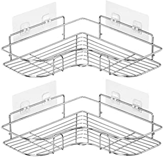 SKEIDO 2PCS Corner Shower Caddy Adhesive Bathroom Stainless Steel Shelves Floating Shelves for Kitchen,Bathroom Organizer,...