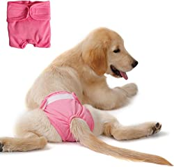 Livelynine Premium Washable Dog Diapers Female Reusable Puppy Doggie Diapers for Female Dog Period Panties Leakproof Pink Color