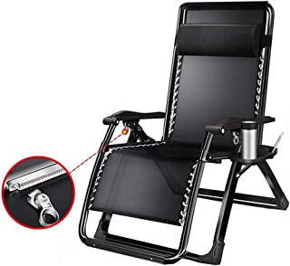 Lounge Chair Black Oversized Lawn Chairs Reclining with Cup Holder and Padded Cushions,for Outdoor Garden Beach Patio Camping 200kg