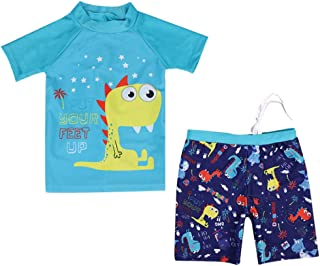 Kids Baby Boys Two Piece Bathing Suits Short Sleeve Rash Guard Sets UPF50+ Sun Protection Dinosaur Swimwear