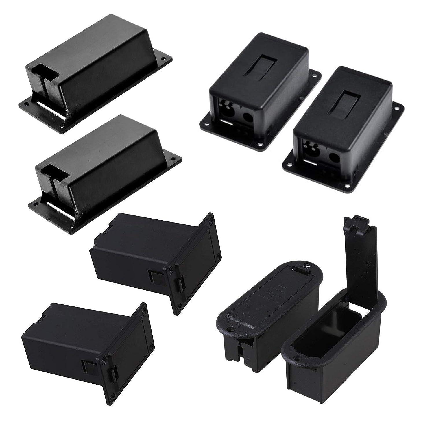 Timiy 4 Types 8pcs Black Plastic 9v Battery Holder Case BOX Base for Active Guitar Bass No Terminal
