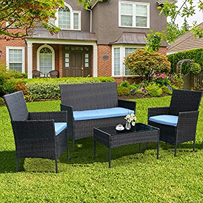 CRZDEAL 4 Piece Patio Furniture Sets Clearance, Wicker Patio Furniture Includes 2 Armchairs,1 Double Seat Sofa and 1 Table Indoor Outdoor Patio Conversation Sets
