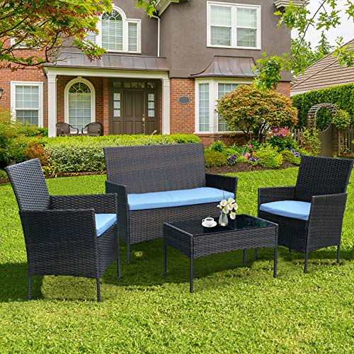 CRZDEAL 4 Piece Patio Furniture Sets Clearance, Wicker Patio Furniture Includes 2 Armchairs,1 Double...