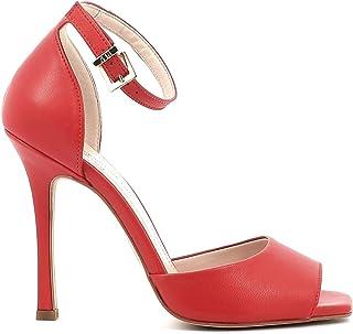 Pierfrancesco Vincenti Sandali in Pelle con Tacco Alto e Tallone Coperto - Scarpe Donna Made in Italy Colore Rosso